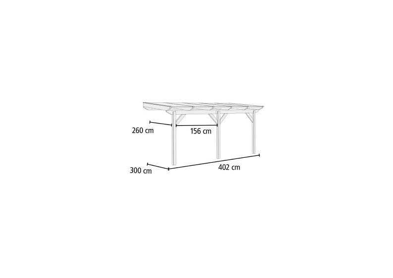 Karibu Holz Terrassenüberdachung Modell 2 Classic - Grösse B (300 x 402) cm - Leimholz natur
