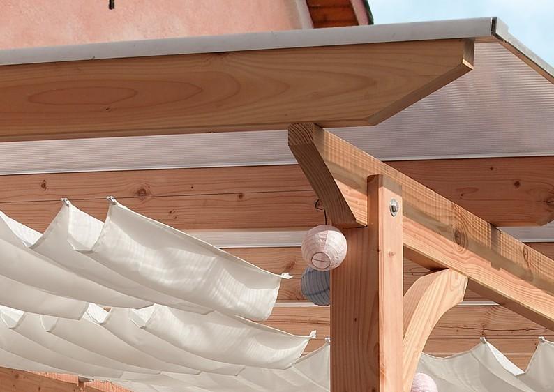 Karibu Holz Terrassenüberdachung Modell 2 Premium - Grösse B (300 x 512 cm) - Douglasie gerade