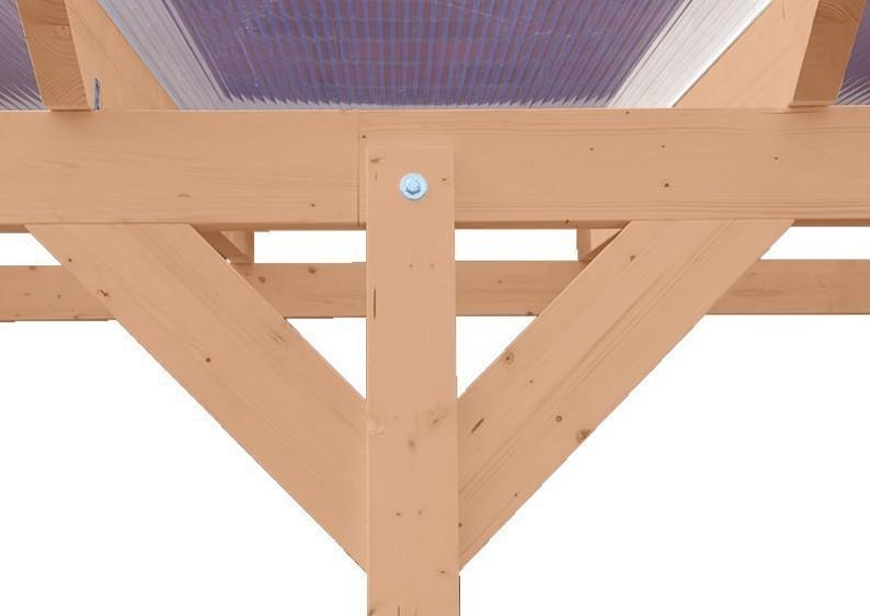 Karibu Holz Terrassenüberdachung Modell 3 Premium - Grösse C (350 x 714 cm) - Douglasie gerade