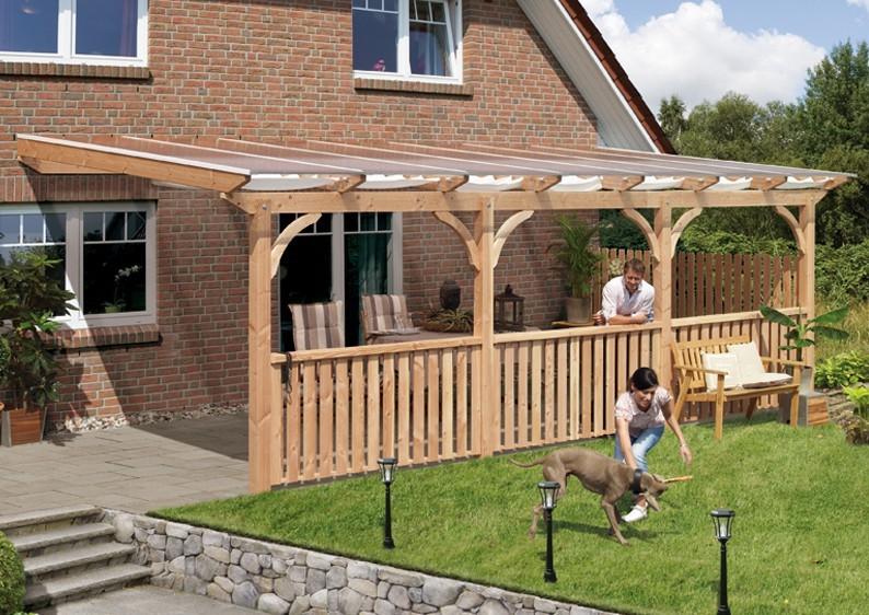 Karibu Holz Terrassenüberdachung Modell 1 Premium - Grösse B (250 x 512 cm) - Douglasie rund