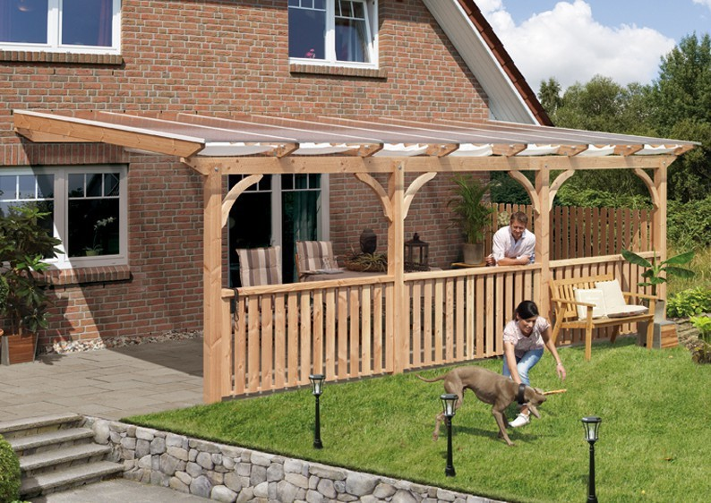 Karibu Holz Terrassenüberdachung Modell 1 Premium - Grösse C (250 x 714 cm) - Douglasie rund