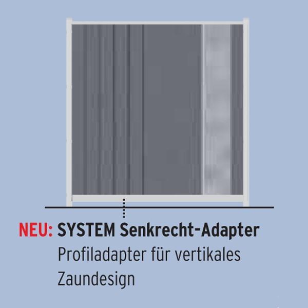 TraumGarten Adapter für Senkrecht Montage von System Profilen anthrazit - 6 x 4 x 176 cm