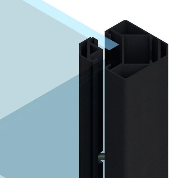 TraumGarten Zaunpfosten System Eck-Klemmpfosten  anthrazit - 8 x 8 x 192 cm