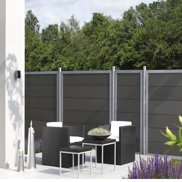 TraumGarten Sichtschutzzaun Design WPC Aluminium Rechteck anthrazit 180 x 180cm