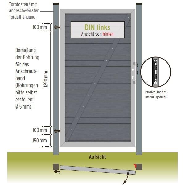 TraumGarten Gartentor Design WPC Aluminium anthrazit DIN rechts 98 x 180cm