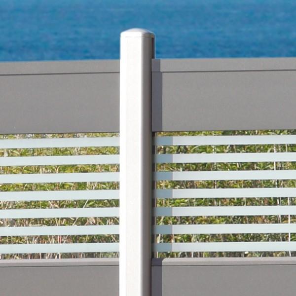 TraumGarten Sichtschutzzaun System Alu Classic Set Rechteck silber - 178 x 181 cm