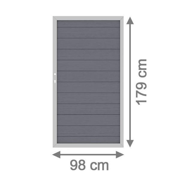 TraumGarten Sichtschutzzaun System WPC Tor DIN links anthrazit / silber - 98 x 179 cm