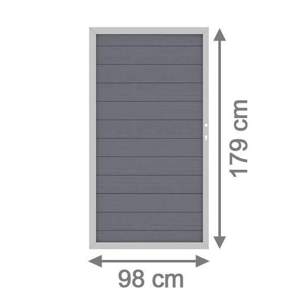 TraumGarten Gartentor System WPC DIN rechts anthrazit / silber - 98 x 179 cm