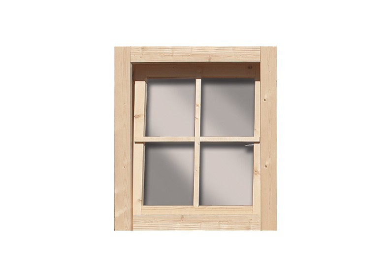 Karibu Holz-Gartenhausfenster Dreh-/Kipptechnik rechteckig für 28 mm Wandstärke - natur