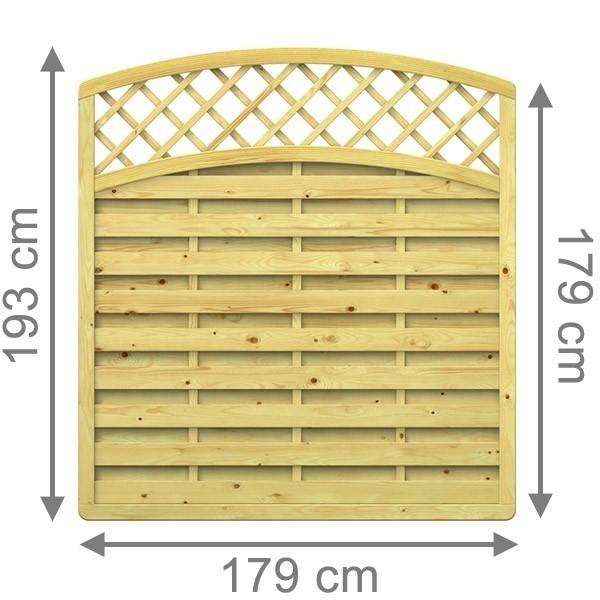 TraumGarten Sichtschutzzaun XL Rundbogen mit Gitter kdi - 179 x 179 (193) cm