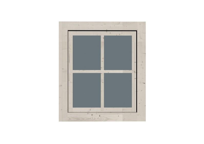 Karibu Holz Fenster für 28 mm Wandstärke - Dreh-/Kipptechnik - elfenbeinweiß