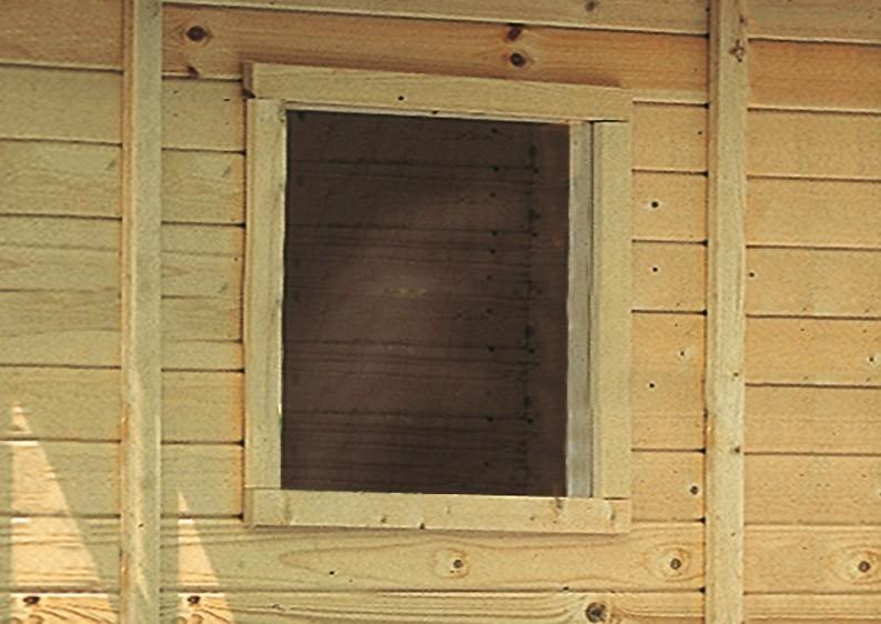 Karibu Holz-Gartenhausfenster feststehend viereckig für 14 mm Wandstärke - natur