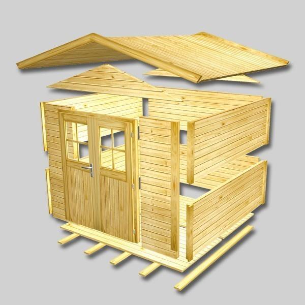 Karibu Holz-Gartenhaus Dalin 1 14 mm Gerätehaus in Systembauweise - naturbelassen