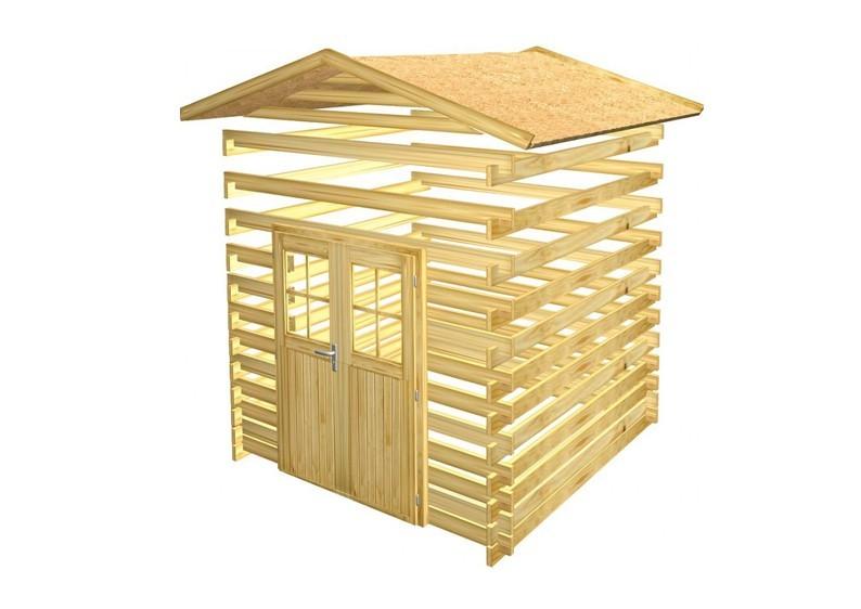 Woodfeeling Holz-Gartenhaus Lagor 1 Satteldach 38 mm Blockbohlenhaus Mittelwandhaus- natur