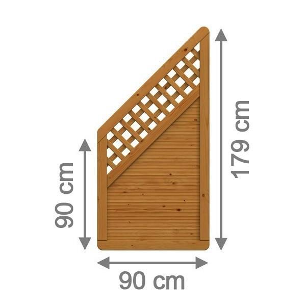 TraumGarten Sichtschutzzaun Nadelholz Arzago Anschluss mit Gitter braun lasiert - 90 x 179 auf 90 cm