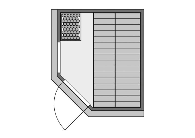 Karibu 68mm Systembausauna Amelia 1 Eckeinstieg mit Bronzierter Tür - mit Dachkranz