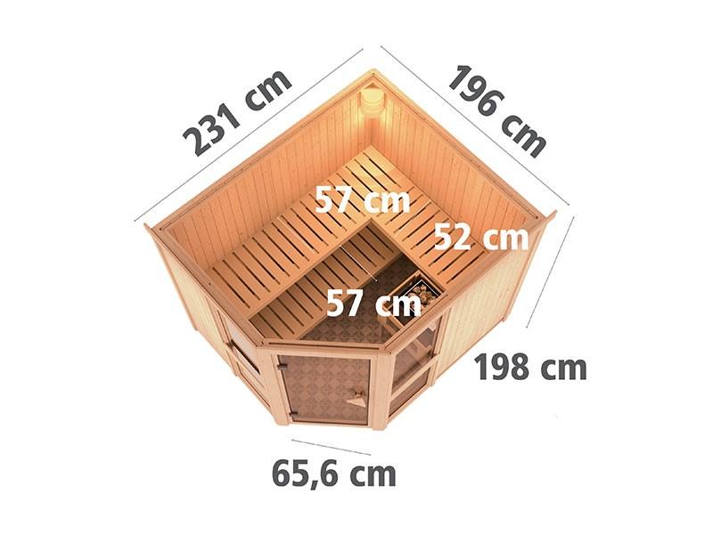 Karibu 68mm Systembausauna Amelia 3 - Eckeinstieg - große Fensterfront - ohne Dachkranz
