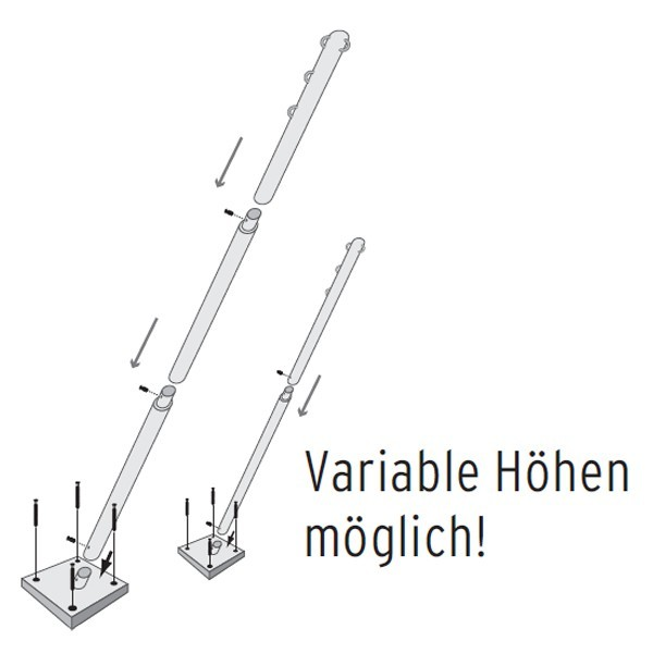 TraumGarten Befestigungsstangenset fixiert für Sonnensegel - 4 x 4 x 305 cm