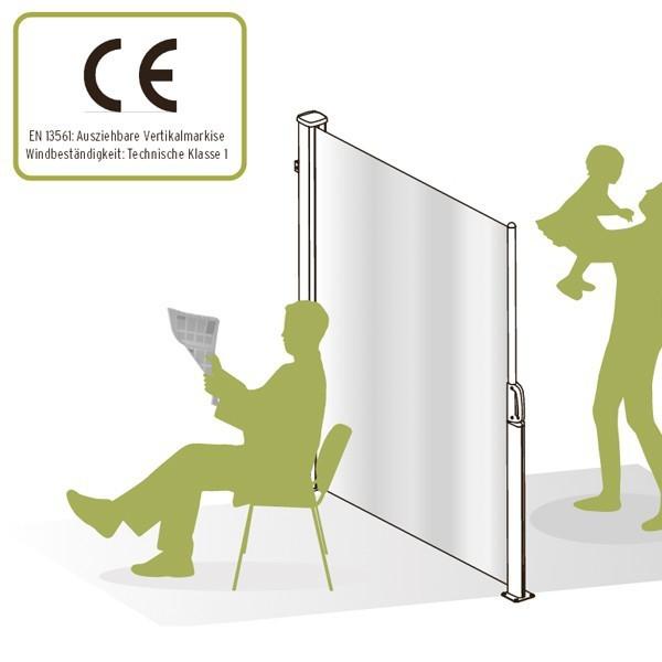 TraumGarten Seitenmarkise zum Ausziehen sand - 180 x 350 cm
