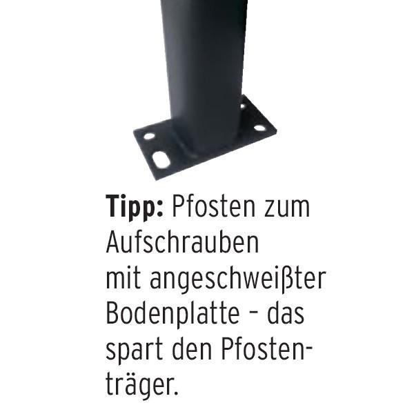 TraumGarten Zaunpfosten Universal Set anthrazit zum Aufschrauben - 7 x 7 x 105 cm