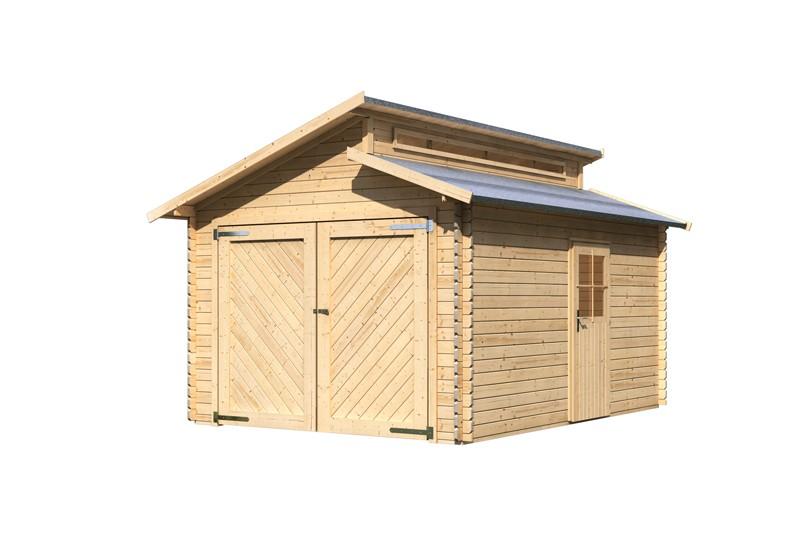 Karibu Holzgarage mit Stufendach 28 mm - naturbelassen