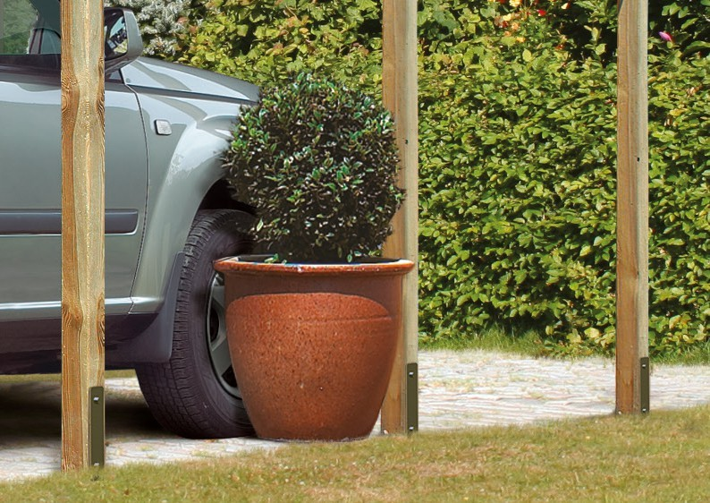 Karibu Holz Einzelcarport Eco 2 Variante C - kesseldruckimprägniert
