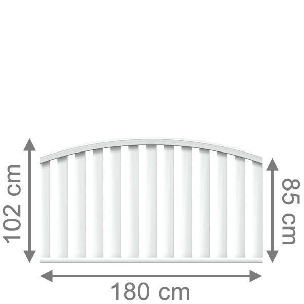 TraumGarten Vorgartenzaun Kunststoff Longlife Cleo Rundbogen weiß - 180 x 85 (102) cm