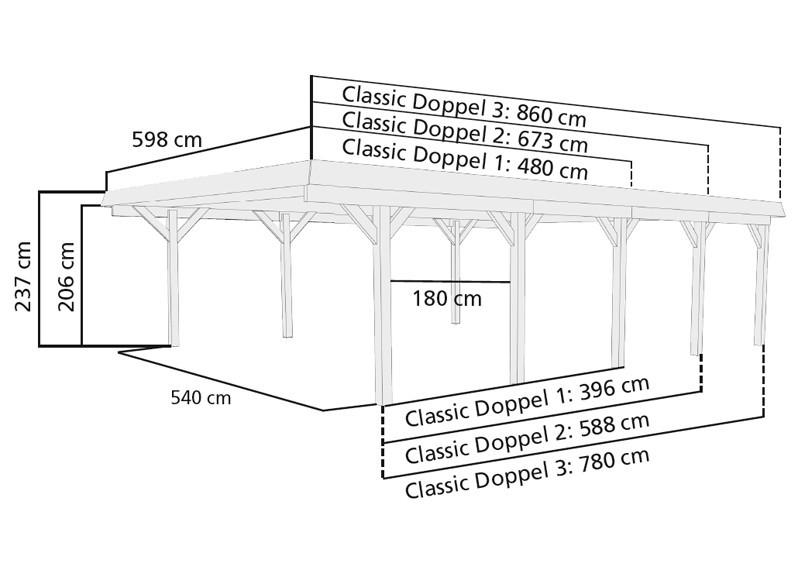 Karibu Holz Doppelcarport Classic 1 Variante A - PVC Dach