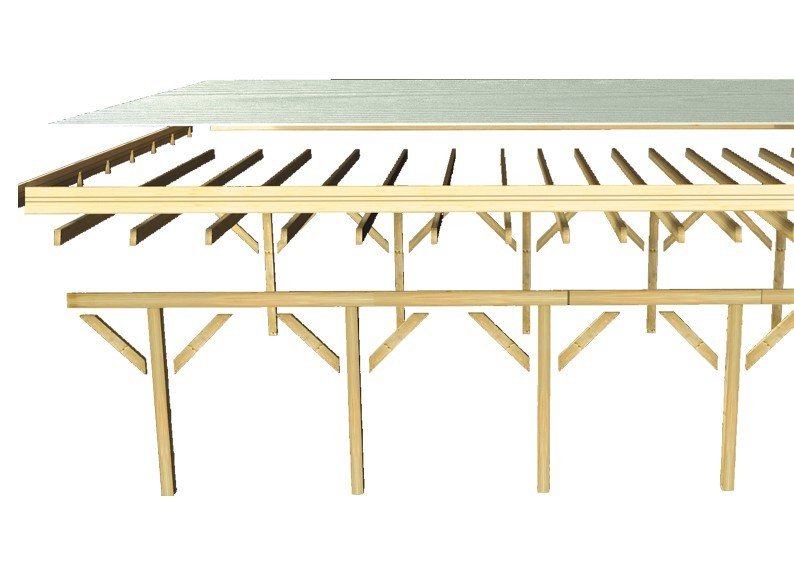 Karibu Holz Doppelcarport Classic 1 Variante C inkl. zwei Einfahrtsbögen - PVC Dach