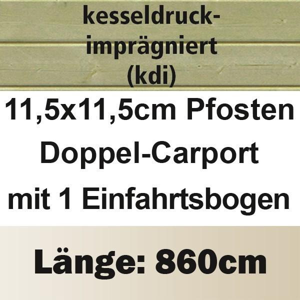 Karibu Holz Doppelcarport Classic 3 Variante B inkl. einem Einfahrtsbogen - PVC Dach