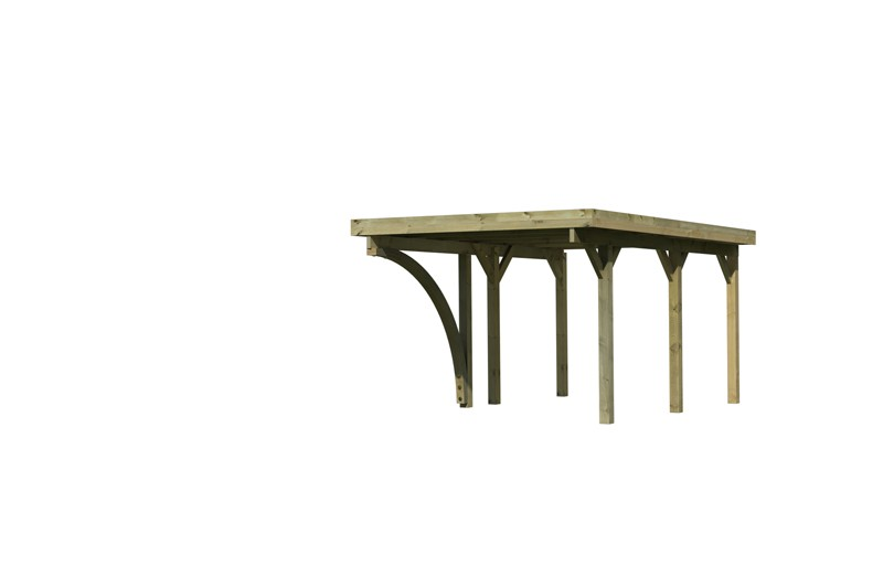 Karibu Holz Einzelcarport Classic 1 Variante B inkl. einem Einfahrtsbogen - Stahl Dach