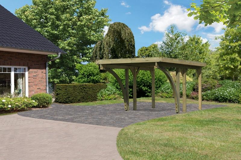 Karibu Holz Einzelcarport Classic 1 Variante C inkl. zwei Einfahrtsbögen - Stahl Dach