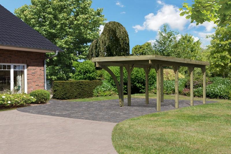 Karibu Holz Einzelcarport Classic 2 Variante B inkl. einem Einfahrtsbogen - Stahl Dach