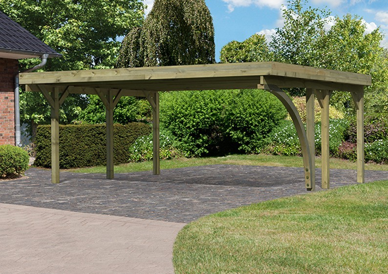 Karibu Holz Doppelcarport Classic 1 Variante C inkl. zwei Einfahrtsbögen - Stahl Dach