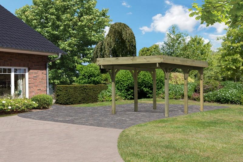 Karibu Holz Einzelcarport Premium 1 Variante A - PVC Dach