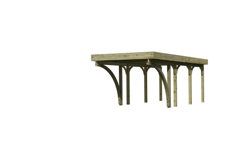 Karibu Holz Einzelcarport Premium 2 Variante C inkl. zwei Einfahrtsbögen - PVC Dach