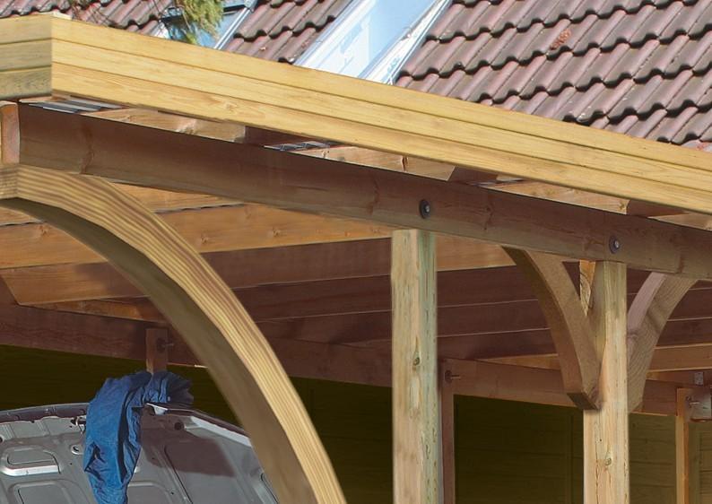 Karibu Holz Einzelcarport Premium 3 Variante A - PVC Dach