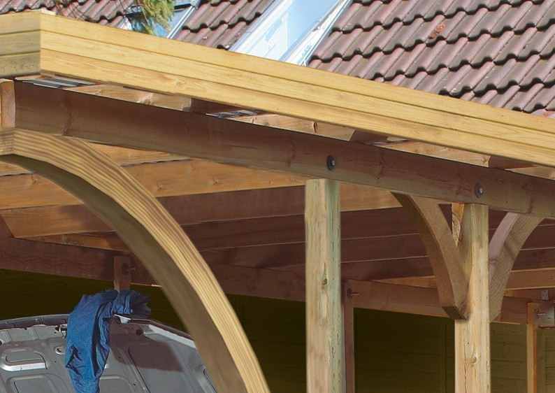 Karibu Holz Doppelcarport Premium 1 Variante A - PVC Dach