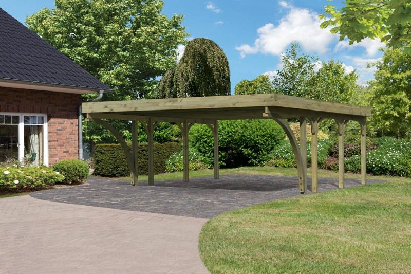 Karibu Holz Doppelcarport Premium 2 Variante C inkl. zwei Einfahrtsbögen - PVC Dach