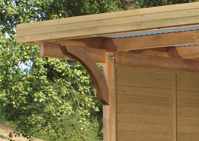 Karibu Holz Doppelcarport Premium 3 Variante C inkl. zwei Einfahrtsbögen - PVC Dach