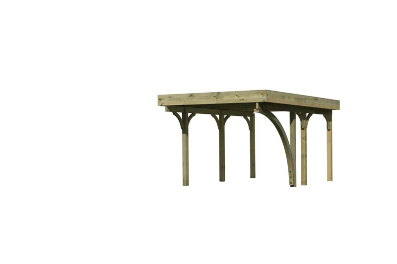 Karibu Holz Einzelcarport Premium 1 Variante B inkl. einem Einfahrtsbogen - Stahl Dach