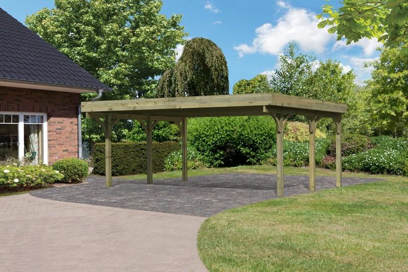 Karibu Holz Doppelcarport Premium 1 Variante A - Stahl Dach