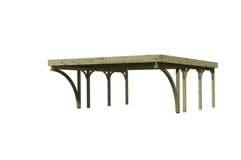 Karibu Holz Doppelcarport Premium 2 Variante C inkl. zwei Einfahrtsbögen - Stahl Dach