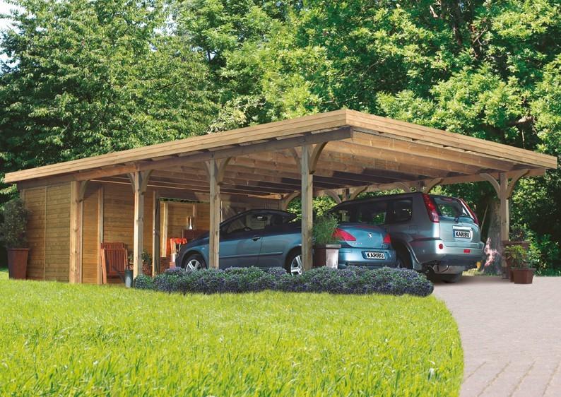 Karibu Holz Doppelcarport Premium 3 Variante B inkl. einem Einfahrtsbogen - Stahl Dach