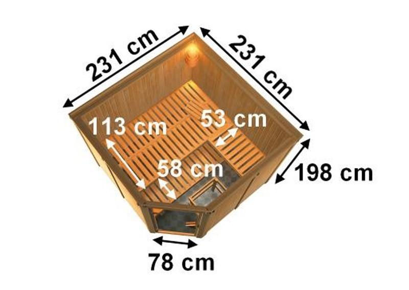 Karibu Heimsauna Sparset Farin (Eckeinstieg)  245*245*202 cm 68 mm Systemsauna