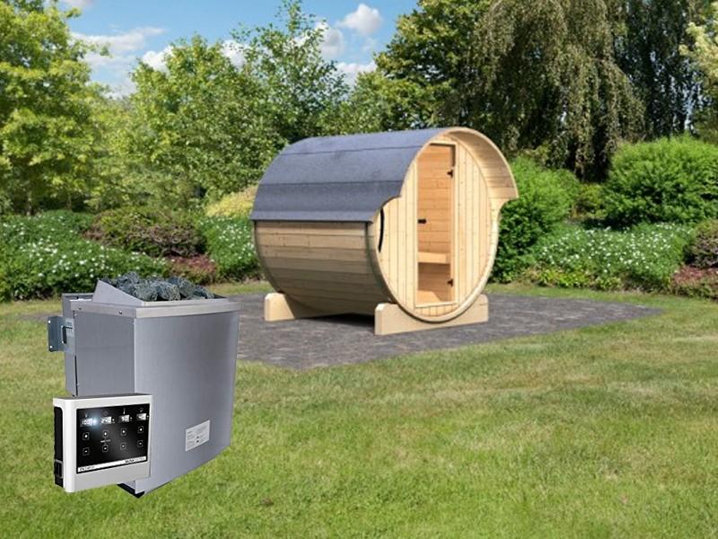 Karibu Fasssauna 1 - 42 mm - Tonnendach, naturbelassen -  Fass-Sauna inkl. 9 KW Saunaofen ext. Strg. und Zubehör