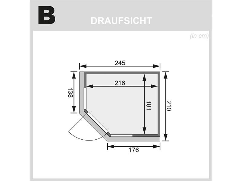 Karibu 68mm Systembausauna Amelia 3 - Eckeinstieg - große Fensterfront - mit Dachkranz - 9kW Saunaofen mit integr. Steuerung