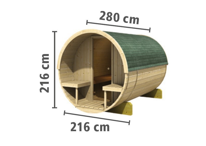 Karibu Fasssauna 2 - 42 mm - Tonnendach, naturbelassen -  Fass-Sauna inkl. Zubehör