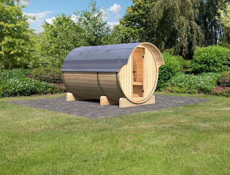 Karibu Fasssauna 3 mit Vorraum - 42 mm - Tonnendach, naturbelassen -  Fass-Sauna inkl. Zubehör