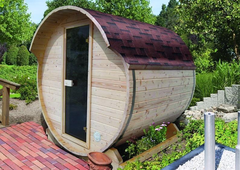 Karibu Fasssauna 1 - 42 mm - Tonnendach, naturbelassen -  Fass-Sauna inkl. 3 Pakte Dachschindeln und Zubehör